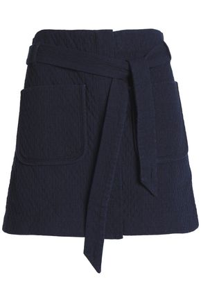 RAG & BONE Belted cotton-cloqué mini skirt