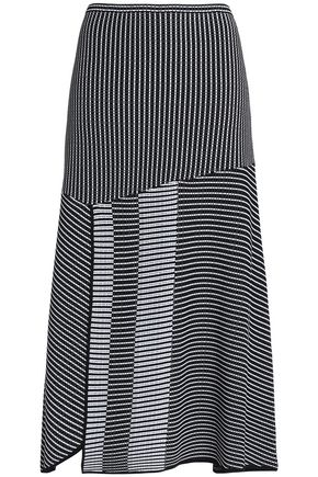 DIANE VON FURSTENBERG Fluted stretch-knit cloqué midi skirt