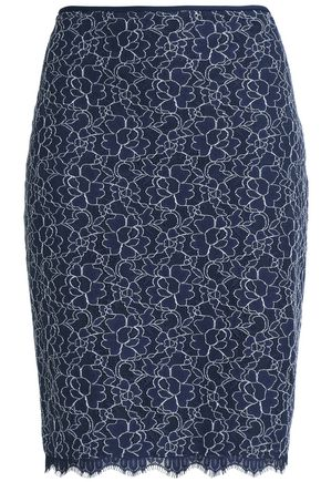 DIANE VON FURSTENBERG Corded lace cotton-blend skirt