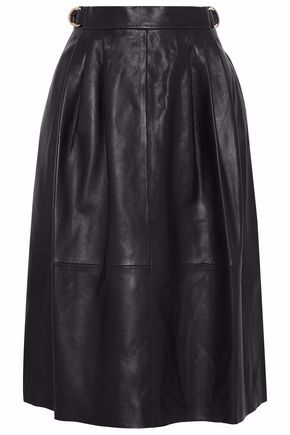 DEREK LAM Pleated leather skirt