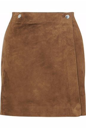 THEORY Wrap-effect suede mini skirt