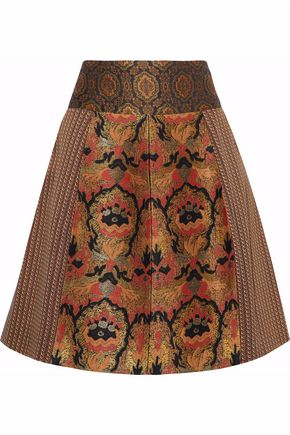 ETRO Paneled jacquard skirt