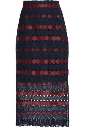 SANDRO Crochet-knit midi skirt