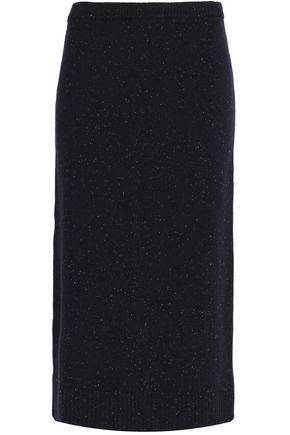 SANDRO Marled wool and cotton-blend midi skirt