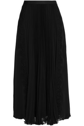 OSCAR DE LA RENTA Lace-trimmed pleated silk-chiffon midi skirt