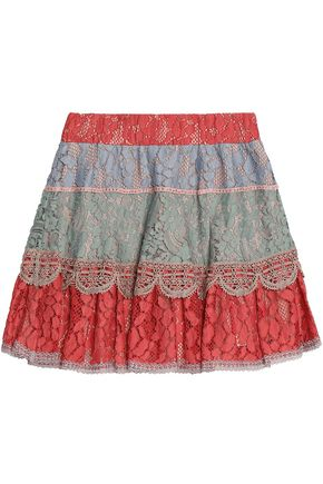 ALEXIS Zowie color-block corded lace mini skirt