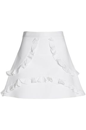 ALEXIS Ruffle-trimmed stretch-cotton mini skirt
