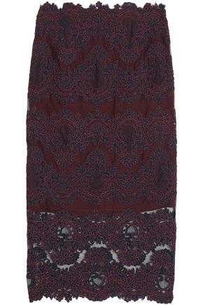 SANDRO Corded lace midi skirt