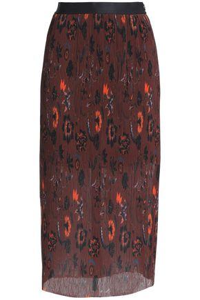 SANDRO Printed plissé-georgette midi skirt