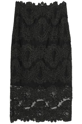 SANDRO Paris Metallic lace midi skirt
