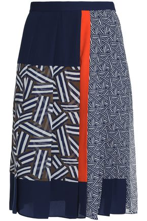 DIANE VON FURSTENBERG Pleated printed twill, satin and crepe skirt