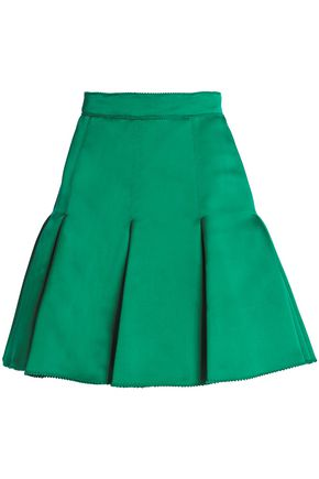 DOLCE & GABBANA Pleated silk-satin mini skirt