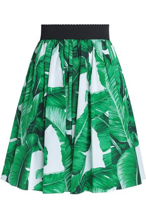 DOLCE & GABBANA Pleated printed cotton mini skirt