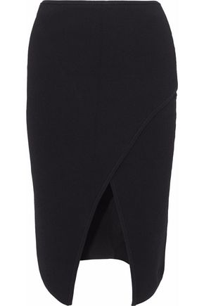 NICHOLAS Wrap-effect ponte skirt