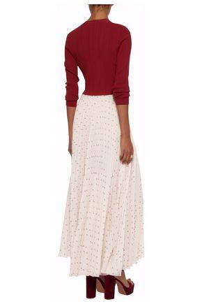 VILSHENKO Printed plissé maxi skirt