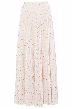 VILSHENKO Pleated printed crepe de chine maxi skirt