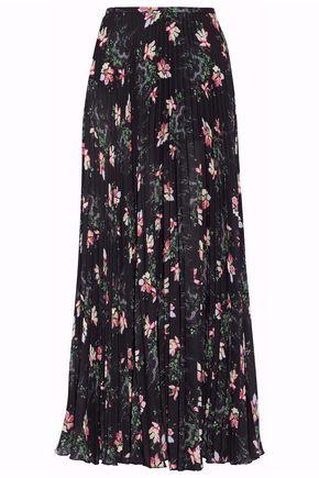 VILSHENKO Pleated floral-print chiffon maxi skirt