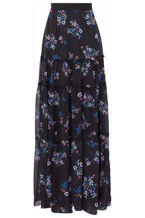 NICHOLAS Ruffled floral-print silk-chiffon maxi skirt