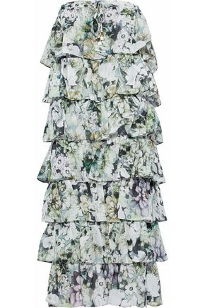 NICHOLAS Tiered floral-print cotton and silk-blend dress