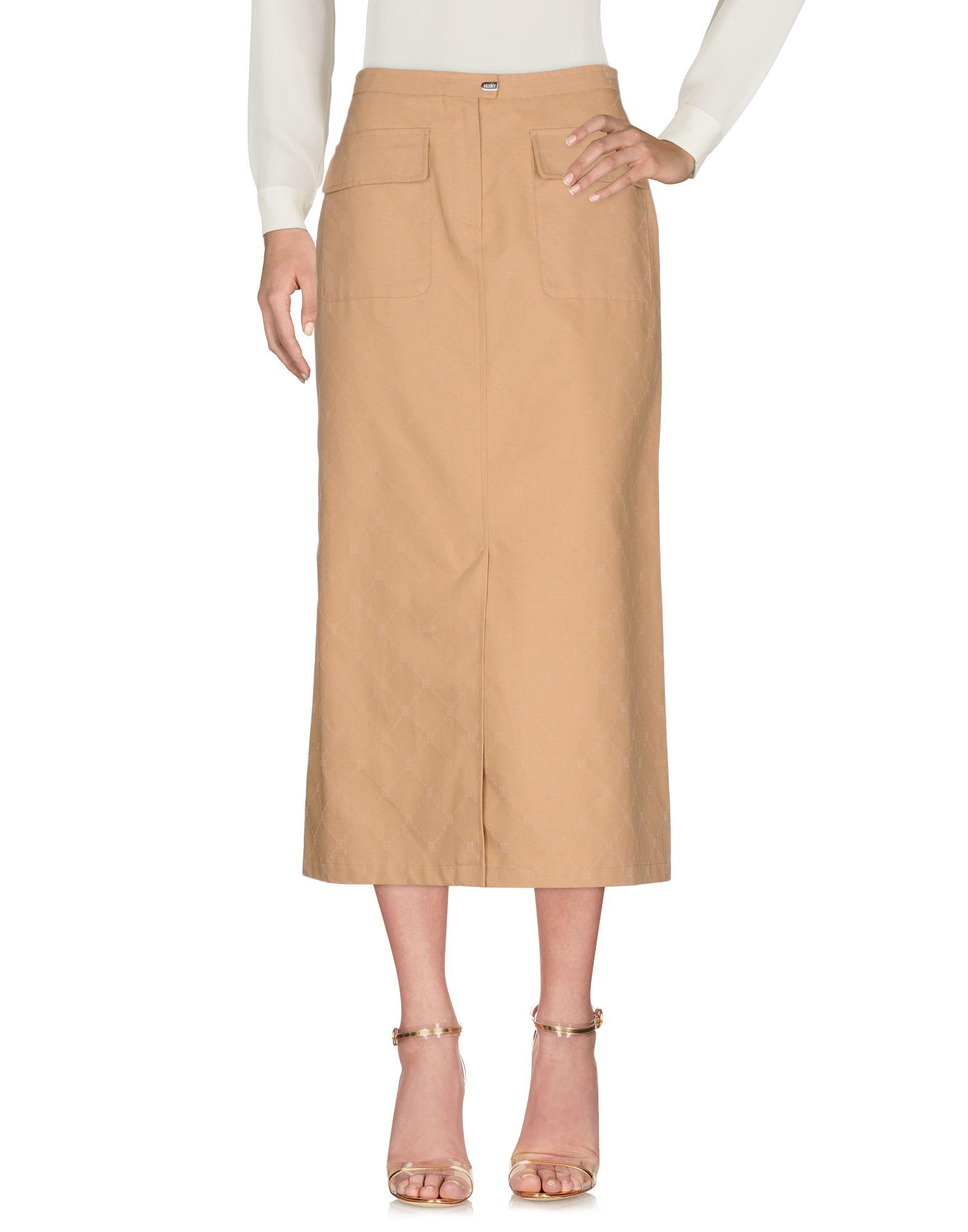 《送料無料》HUSKY レディース 7分丈スカート キャメル 42 コットン 100%
