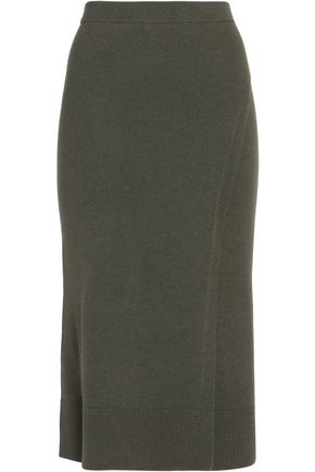SANDRO Muse wrap-effect wool and cashmere-blend midi skirt