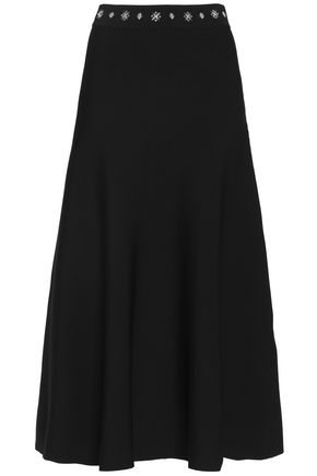 SANDRO Embellished stretch-ponte midi skirt
