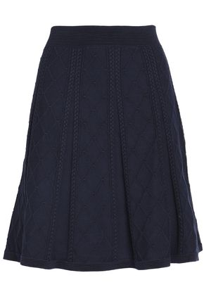 SANDRO Pleated cotton-blend knitted skirt