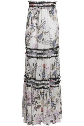 NICHOLAS Paneled floral-print silk-georgette maxi skirt