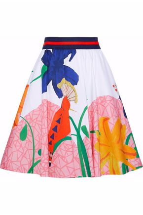 ALICE + OLIVIA Pleated printed stretch-cotton skirt