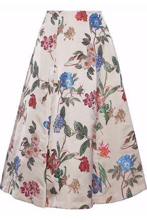 ALICE + OLIVIA Flared floral-jacquard midi skirt