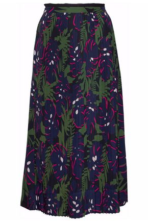 MARKUS LUPFER Pleated printed crepe de chine midi skirt