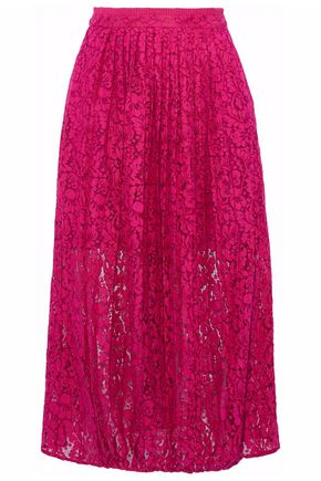 MARKUS LUPFER Pleated cotton-blend lace midi skirt