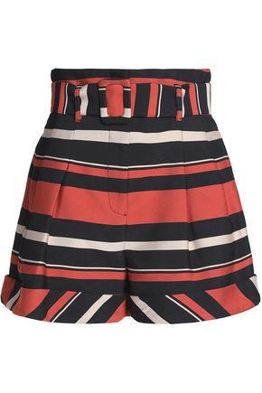 NICHOLAS Pleated striped twill shorts