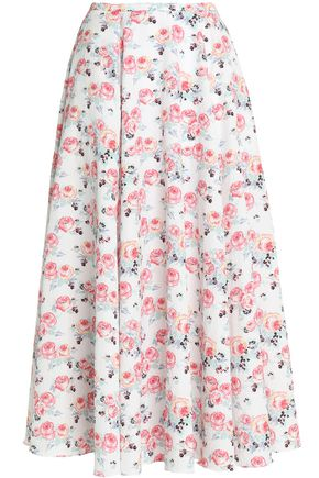 EMILIA WICKSTEAD Pleated floral-print cloqué midi skirt