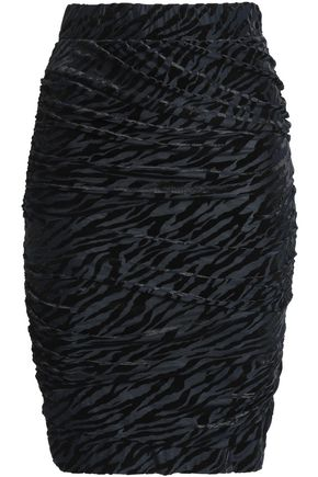 GANNI Ruched devoré-velvet skirt