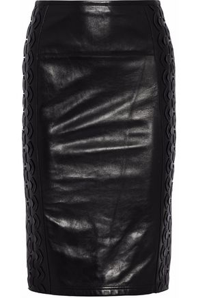 ROBERTO CAVALLI Laser-cut faux leather and ponte skirt