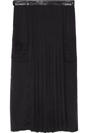 BELSTAFF Leather-trimmed pleated silk-chiffon wrap skirt