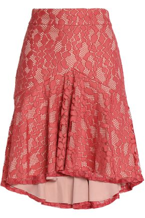 ALEXIS Asymmetric pleated corded lace skirt