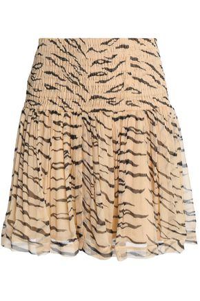 GANNI Whitman shirred zebra-print chiffon mini skirt