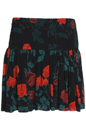 GANNI Smocked printed voile mini skirt