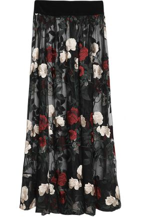 GANNI Pleated embroidered tulle maxi skirt