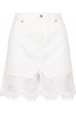 McQ Alexander McQueen Lace-trimmed denim mini skirt