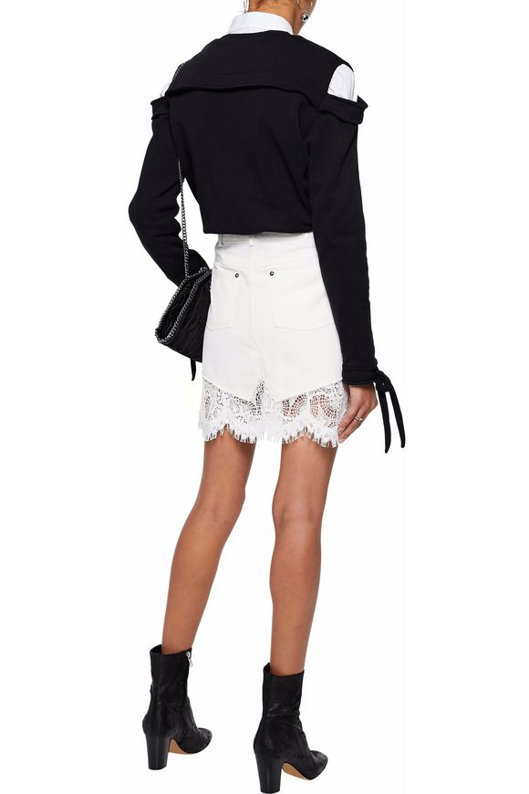 Lace-paneled denim mini skirt | McQ Alexander McQueen | Sale up to 70% off  | THE OUTNET