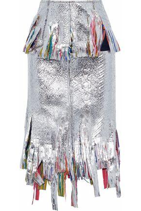 GOEN.J Fringed metallic-coated bouclé  midi skirt