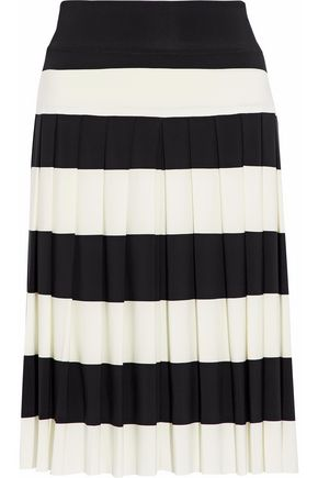 NORMA KAMALI Pleated striped stretch-jersey skirt