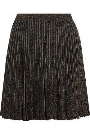 ROBERTO CAVALLI Pleated metallic stretch-knit mini skirt