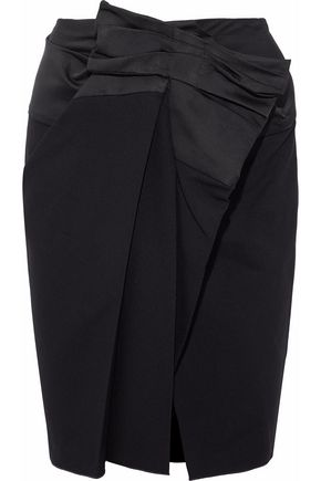 LANVIN Satin-paneled wrap-effect twill skirt