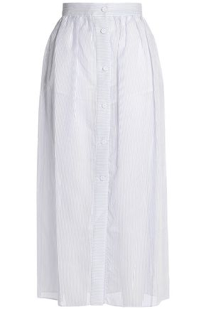 VILSHENKO Striped cotton-blend organza midi skirt