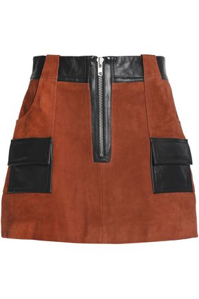 GANNI Leather-trimmed suede mini skirt