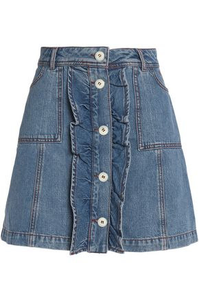 GANNI Ruffled denim mini skirt